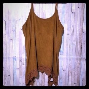 Maurices size 1 suede brown spaghetti tank EUC